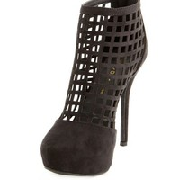 CAGED ZIP-BACK HEEL BOOTIE