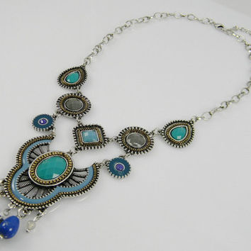 Romantic Bohemian Tribal Statement Necklace Chandelier Glass Beaded Filigree Crest Pendant Silver Tone Howlite Turquoise Blue Teal