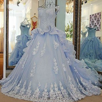 Ball Gown Beading Lace Up Back Ivory and Blue Organza Rhinestones Bridal Wedding Gowns