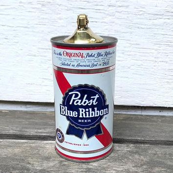 Vintage Pabst Blue Ribbon Beer Can Lighter, Retro Table Lighter, Tobacciana, 1970s