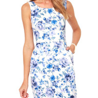 Blue Floral High Waist Sleeveless Mini Dress