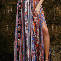 Maxi Summer Skirt Beach Long Casual Skirt Boho Tribal Floral Skirts
