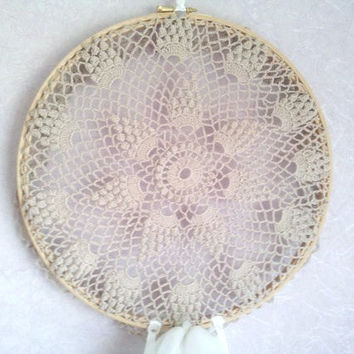 Large lace dreamcatcher, large dreamcatcher, dream catcher, dreamcatcher, doily dreamcatcher, crochet doily, white ribbons, wall hanging,