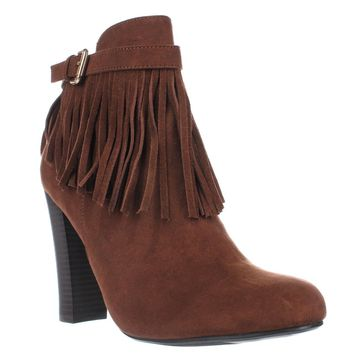 MG35 Persia Fringe Ankle Boots, Cognac, 11 US