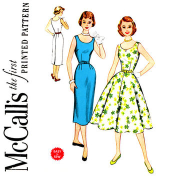 1950s Full or Slim Skirt Dress Pattern Bust 32 McCalls 3240 Sleeveless Sheath or Circle Skirt Day or Evening Womens Vintage Sewing Patterns
