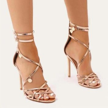 Decoration Straps Open Toe Ankle Wrap Stiletto High Heel Dress Sandals
