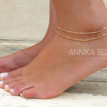 Double Layered Gold Anklet, Gold Chain Anklet, Layered Chain Anklet, Multistandard Gold Anklet, Delicate Gold Anklet