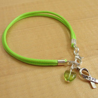 Lime Green Awareness Bracelet (Cotton) - Muscular Dystrophy, Lyme Disease, Non-Hodgkins Lymphoma, Duchenne Muscular Dystrophy DMD