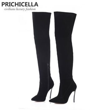 Prichicella genuine leather 12cm/10cm blade heel pointed toe thigh high boots over the knee tall boots