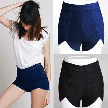 Summer Sea Pants Zippers High Waist Denim Shorts [6332305092]