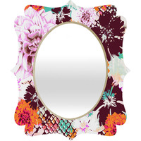 Aimee St Hill Croc And Flowers Orange Quatrefoil Mirror