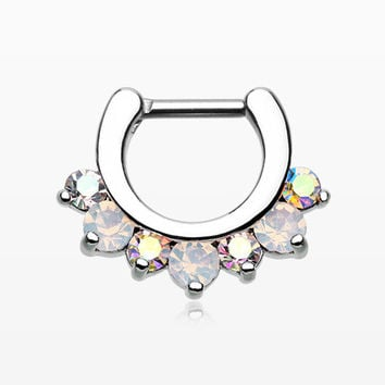 Opalite Sparkle Deuce Septum Clicker Ring