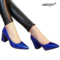 AREQW 2017 summer Office shoes Women Pumps high heels Party Simple Pointed Shallow high heels Woman Office leather shoes women