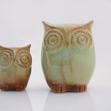 Ceramic owl and owlet  in moss green rustic home decor