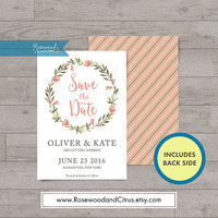 Floral Save the Date Card, Watercolor Floral Save the Date Printable, Wedding Printable Invitation DIY, Floral Wreath, Save the Date Wedding