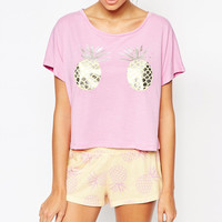 Cartoon Pineapple Print Short Sleeve Graphic Tee