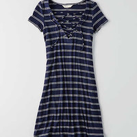 AEO Lace-Up T-Shirt Dress, Navy