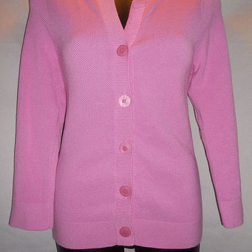 Vintage 80s Flamingo Pink Cardigan Button Up Sweater Size Small EP Pro Brand