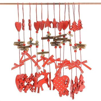 12PCS Wooden Hanging Pendants Christmas Decoration