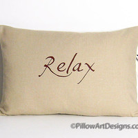 Neutral Beige Linen Pillow Cover Relax Hand Painted
