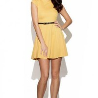 Yellow Party Dress - Yellow Belted Dress with Keyhole | UsTrendy
