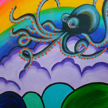 Psychedelic Octopus Painting Cephlopod Rainbow Trippy by snowrobot