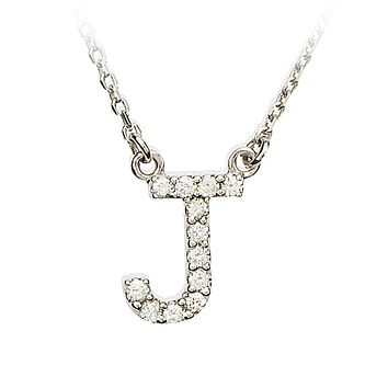 1/8 Cttw G-H, I1 Diamond initial Necklace in 14k White Gold, Letter J