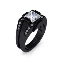 Mens Modern 14k Black Gold 2.0 Carat Princess White Sapphire Diamond Wedding Ring R1020M-14KBGDWS