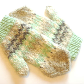 Warm Wool Mittens - Chunky Natural Grey & Mint Green Stranded Mittens in Bulky Icelandic Wool