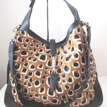 NEW Authentic GUCCI Leopard calf hair New Jackie Shoulder Bag 223929