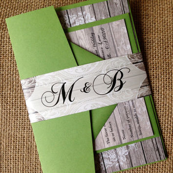 Rustic Western Wood Vintage Country Lace Burlap pocket fold Wedding Invitation Suite.