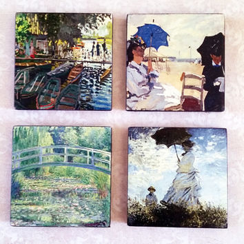 Claude Monet Art Ceramic Tile Magnets 2x2 Inches Set of Four for Refrigerator, Fridge, Cubicle Decor, Dorm Decor, Magnet Board