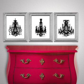 French Shabby Art - Set of 3 Prints - Vintage Victorian Chandeliers - Bedroom Boudoir  Art prints - Gift for her - 8x10 print