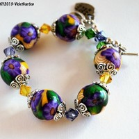 Purple Flower Bracelet with Yellow Beads Swarovski Crystals Handmade