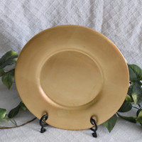 """Gold decorative plate/charger 13"""" in diameter. Kitchen decor. Photo prop. Serving Tray. Gold plate.  Large gold plate. Decorative plate"""