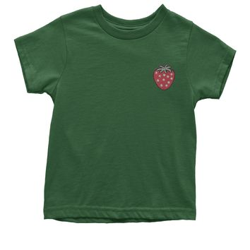 Embroidered Strawberry Patch (Pocket Print) Youth T-shirt