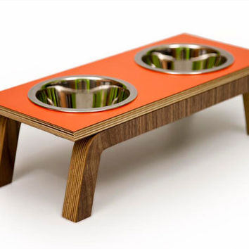 Double Bowl Diner // Mid Century Modern Elevated Pet Feeder // Six Retro Colors // Cat & Dog Dishes