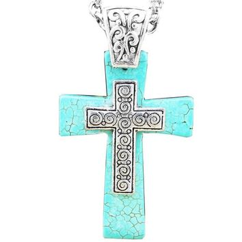 Silver and turquoise Cross Natural Stone Necklace