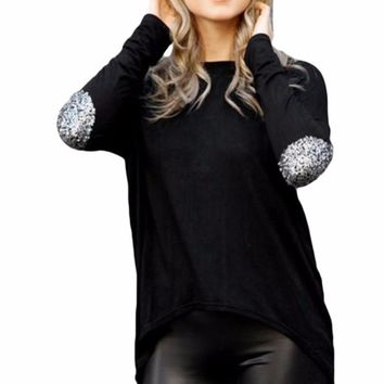 Women's Black Long Sleeve T-Shirt Blouse with Sequin Elbow Patch Detail