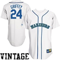 Ken Griffey Jr. Seattle Mariners #24 Cooperstown Collection Throwback Jersey - White -