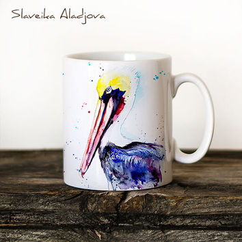 Brown pelican Mug Watercolor Ceramic Mug Unique Gift Coffee Mug Animal Mug Tea Cup Art Illustration Cool Kitchen Art Printed mug