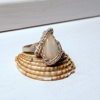Ethiopian Opal Teardop Silver Ring, Sterling Silver Wire Wrapped Ring