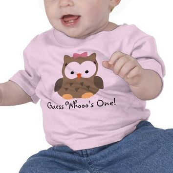 Cute Baby Girl Owl First Birthday T-Shirt from Zazzle.com