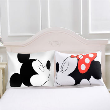 Mickey and Minnie Mouse Pillowcase, 2 Pcs/Pair