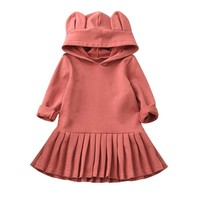 Solid Princess Long Sleeve Hooded Dresses