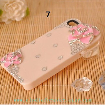 ON SALE 3D Camellia Flower Rhinestone Crystals Flower Case Cover For iPhone 4 iPhone 4S Screen Protect: handmade 7 colors for you to choose