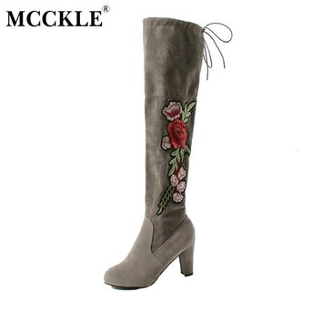 MCCKLE 2017 Female Winter Thigh High Boots Exquisite Embroidery Flower Faux Suede High Heels Over The Knee Shoes Plus Size 34-43