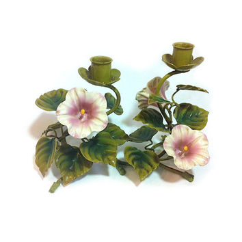 Vintage Metal Candle Holder Petunias Italian Toleware Tole Petunia Flower Pink Flower Candelabra Cottage Decor Wedding Centerpiece Decor