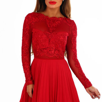 Madly Deeply Red Long Sleeve Crochet Tulle Skater Dress