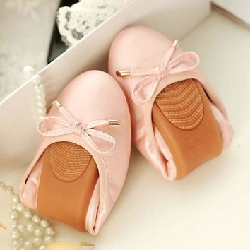 Women Fashion Bowtie Ballet Folding Shoes Cow Muscle Soft Sole Flats Dancing Egg Rolls Shoes Peas Slip-On Loafers Big Size 41 42